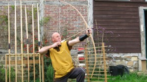 longbow and arrow
