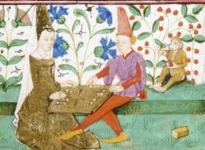 'Man and Woman Playing Backgammon'