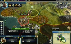 Selecting a military unit, Civ V
