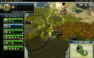The research window pops up when it's time to pick a new tech, Civ V
