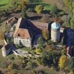 Luftbild von Schloss Colmberg in Mittelfranken.