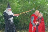 Couple are joust married...in medieval wedding theme